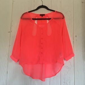 GLO Sheer Neon Pink Blouse